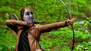 katniss, hunger games, bow and arrow, archery, meme, humor, funny