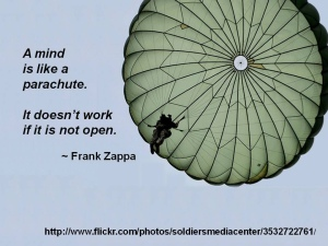 frank zappa, quote, parachute, open mind
