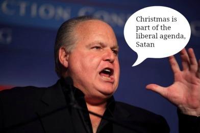 rush limbaugh, christmas, liberal, satan, humor